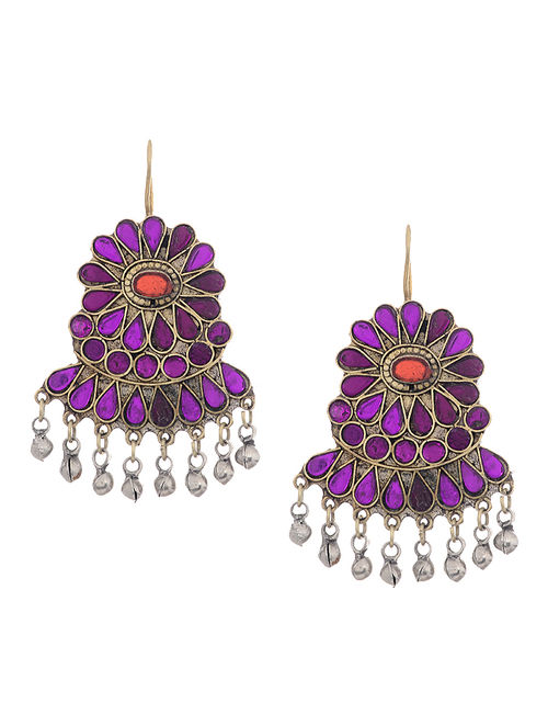 Purple-Red Glass Tribal Earrings