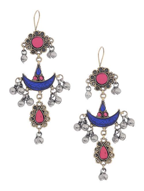 Blue-Pink Glass Tribal Earrings