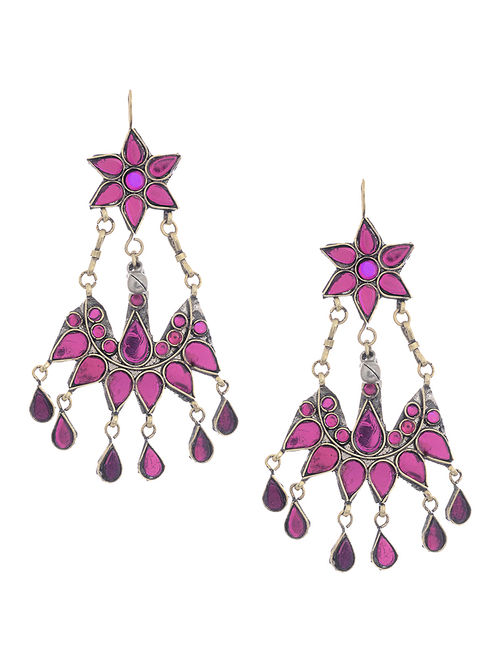 Purple Glass Tribal Earrings