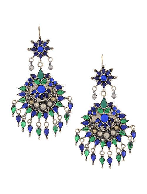 Blue-Green Glass Tribal Earrings