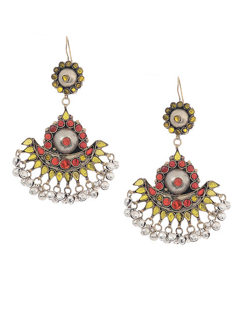 Yellow-Red Glass Tribal Earrings