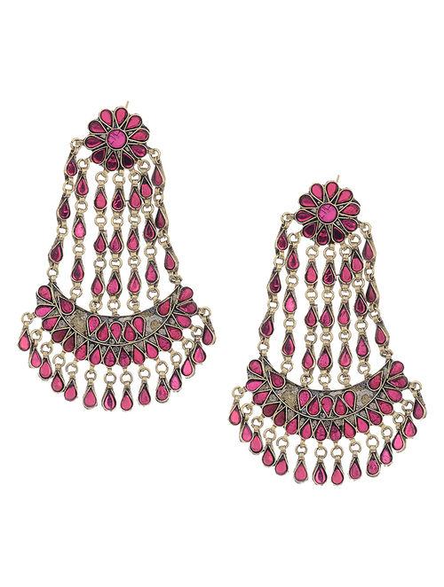Purple Glass Tribal Earrings