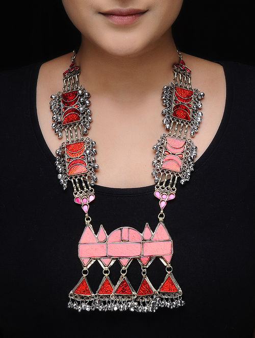 Red Glass Tribal Necklace
