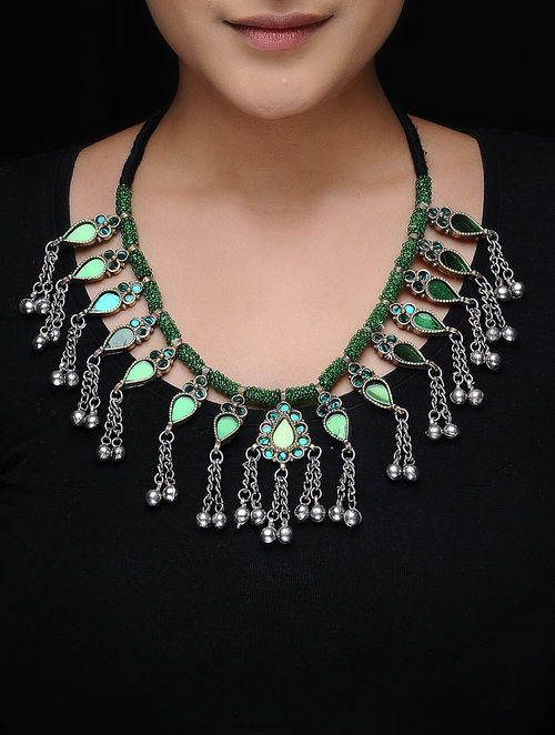 Green Glass Beaded Tribal Necklace