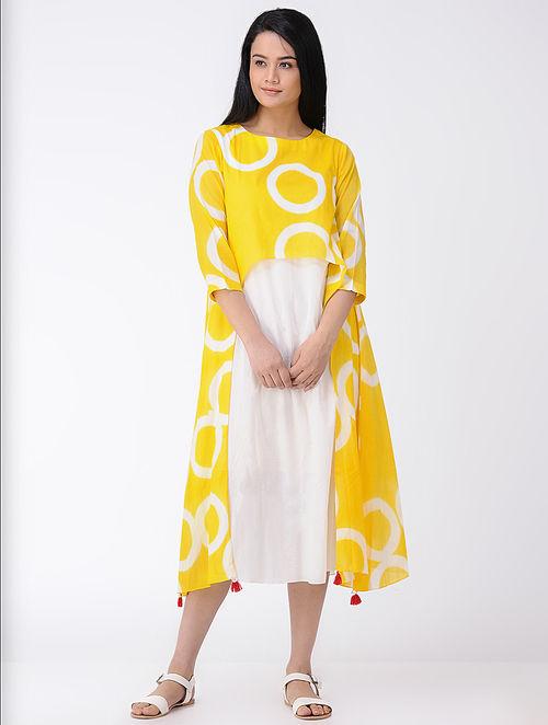 White Yellow Shibori Dyed Cotton Cape Dress With Tels