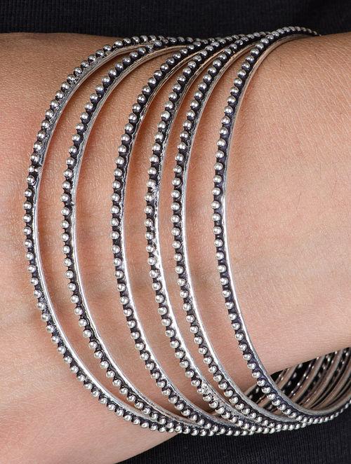 buy ethno silver bangles set of 6 bangle size 28