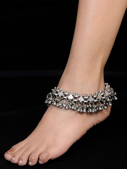 Buy Classic Ghungroo Silver Anklet Set Of 2 Online At