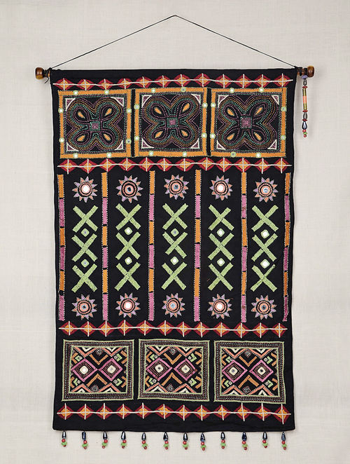 Traditional Black Cotton Hand Embroidered With Mirror Work And Beads Wall Hanging 34in X 26 2