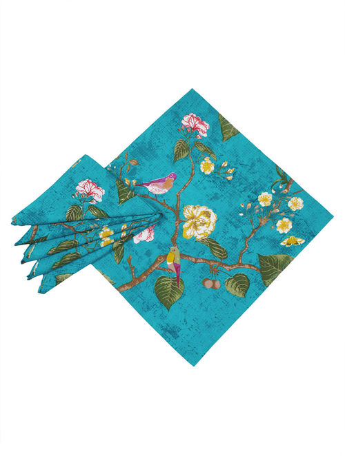 Buy Blue Multi Color Cotton Bird And Floral Printed