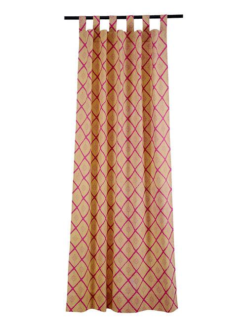 Phulkari Cream Fuchsia Cotton Curtain