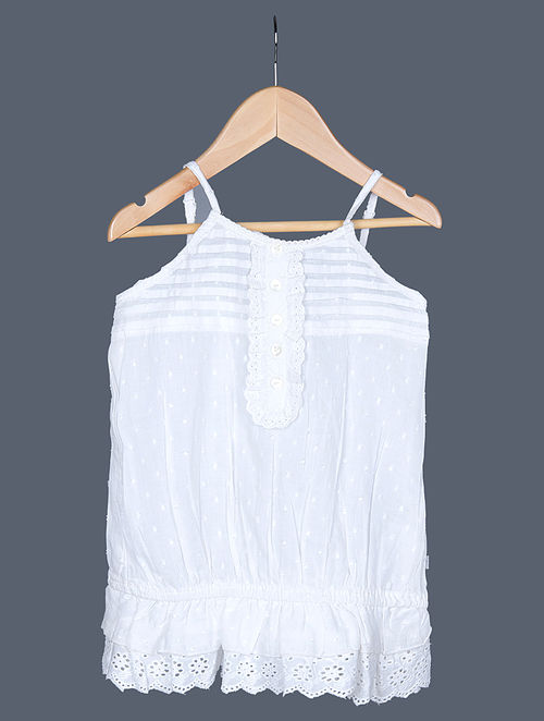67cb4bcdab52e2 Buy White Swiss Dot Cotton Cami Top with Lace Trim Online at ...