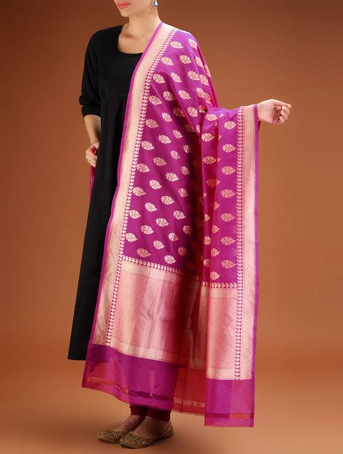 Buy Magenta Floral Brocade Silk Dupatta Online At Jaypore Com
