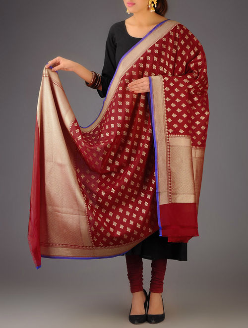 Buy Red Banarasi Silk Zari Booti Dupatta Online At Jaypore.com