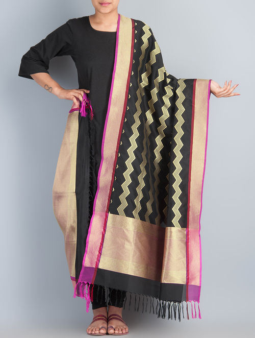 Black-Golden Handwoven Silk Dupatta by Shivangi Kasliwaal