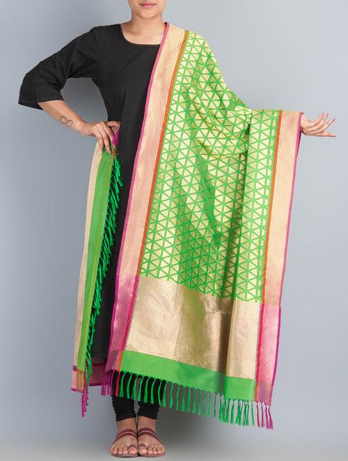 Green-Golden Handwoven Silk Dupatta by Shivangi Kasliwaal