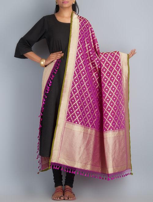 Fuchsia-Golden Handwoven Silk Dupatta by Shivangi Kasliwaal