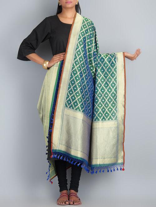 Blue-Green-Golden Handwoven Silk Dupatta by Shivangi Kasliwaal