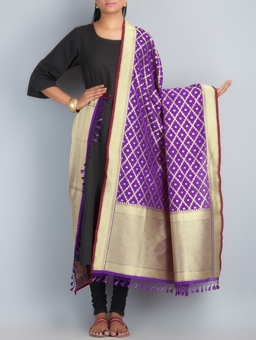Purple-Golden-Silver Handwoven Silk Dupatta by Shivangi Kasliwaal