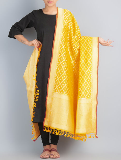 Yellow-Golden Handwoven Silk Dupatta by Shivangi Kasliwaal