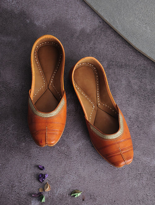 Orange Handcrafted Leather Juttis with Tilla Embroidery