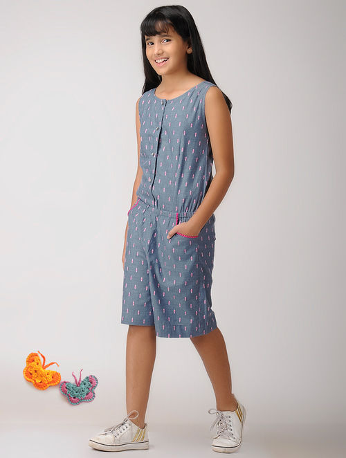 31454a2b7df Buy Blue Handwoven Cotton Jumpsuit Online at Jaypore.com