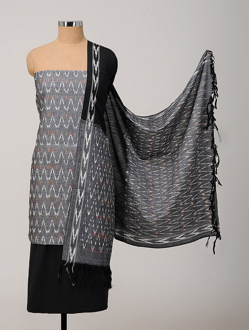 80845b65af Buy Grey-Black Ikat Cotton Suit Fabric with Dupatta (Set of 3) Online at ...