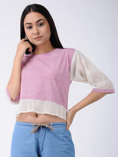 f4fe9a4034d69 Buy Pink Block-printed Cotton Crop Top Online at Jaypore.com