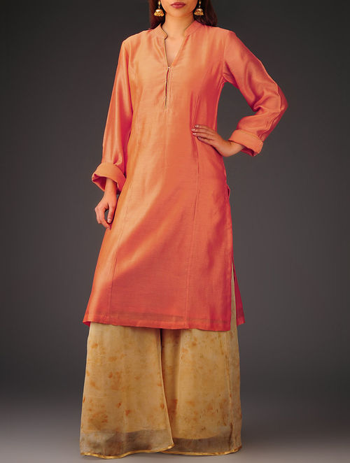 Tangerine Princess line Chanderi Kurta