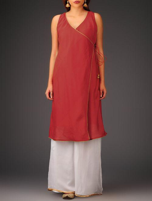Red Sleeveless Angrakha Chanderi Kurta