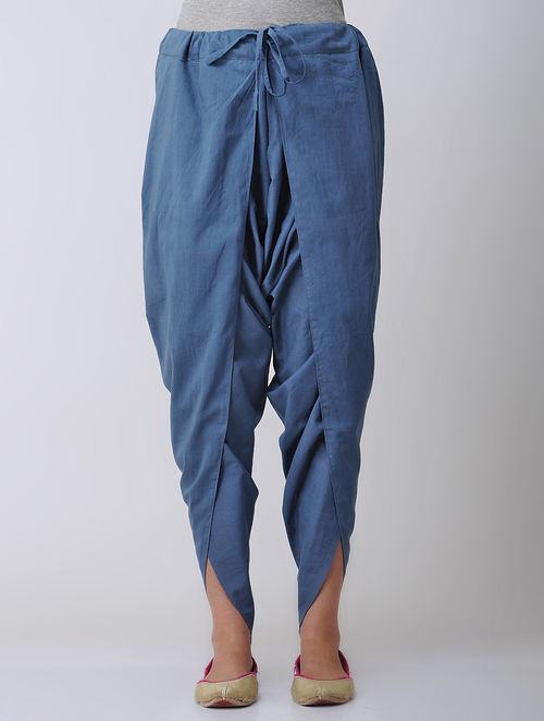 Buy Indigo Tie Up Waist Cotton Dhoti Pants Online At