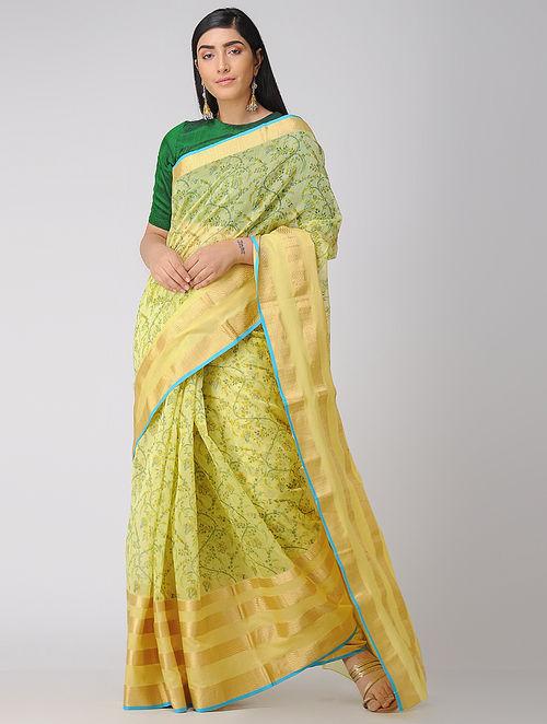 881e927a2 Yellow-Green Block-printed Chanderi Saree with Zari Printed Sarees