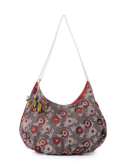 Buy Beige-Red Block-Printed Sling Bag with Tassels Online at ...