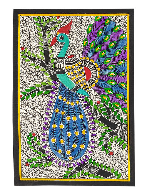Buy Peacock Madhubani Painting 11in X 7 5in Online At