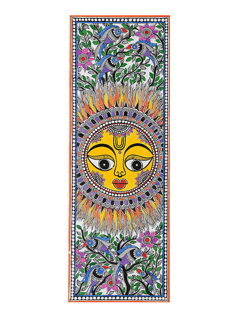Buy Sun Madhubani Painting 18in X 6 2in Online At Jaypore Com
