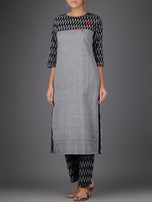 Buy Grey Black Ikat Hand Embroidered Handloom Cotton Kurta