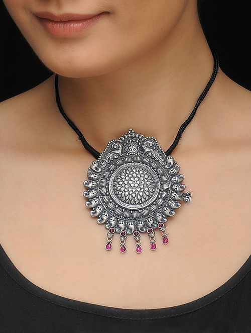 Buy black thread necklace with ruby silver pendant online at jaypore black thread necklace with ruby silver pendant aloadofball Gallery