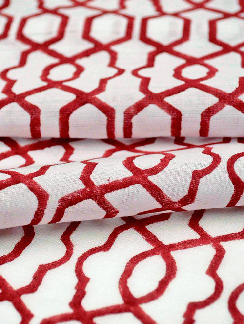 Red Cotton Fretwork Design Fabric by YAMINI
