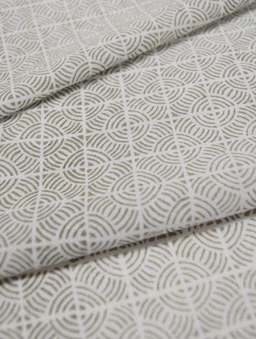 Fog Cotton Circular Grid Design Fabric by YAMINI