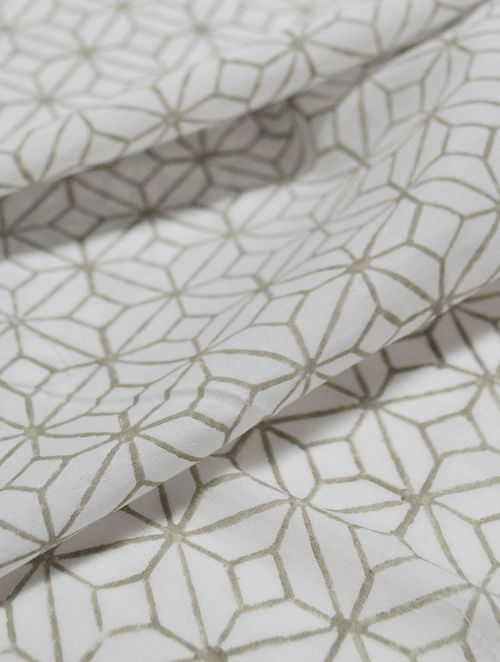 Grey Cotton Lattice Design Fabric by YAMINI
