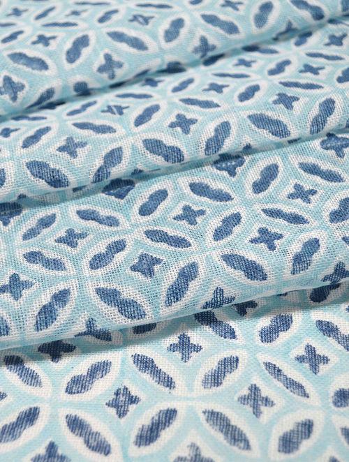Blue Linen Kaleidoscope Design Fabric by YAMINI
