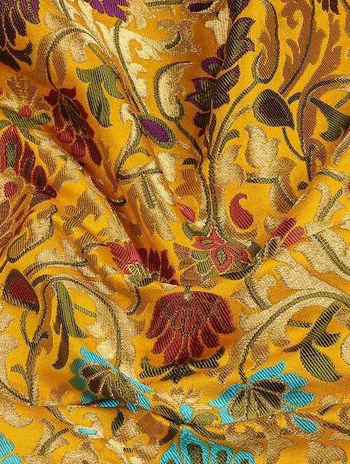 Buy Yellow Red Benarasi Kimkhwab Brocade Fabric Online At