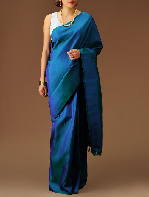 Buy Blue Green Kanchipuram Silk Saree Online At Jaypore Com
