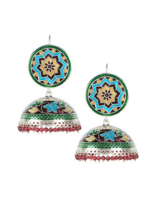 Maroon Meenakari Silver Jhumka Earrings