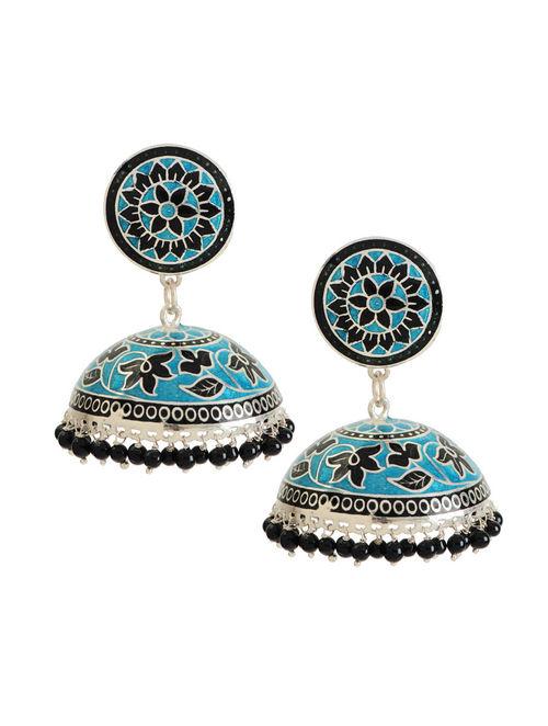 buy black meenakari silver jhumka earrings online at jaypore