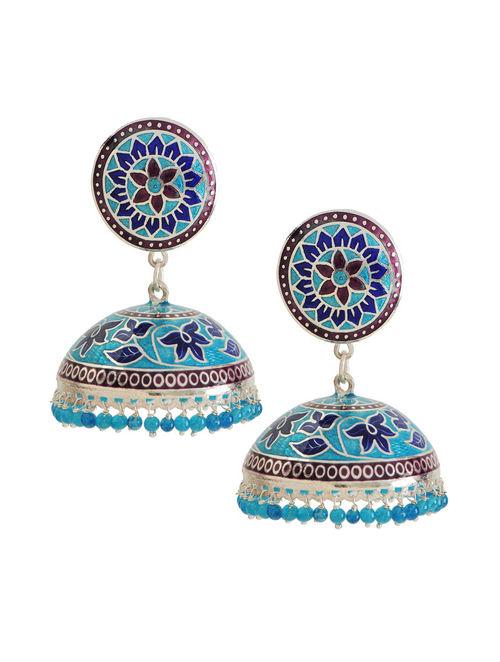Blue Meenakari Silver Jhumka Earrings