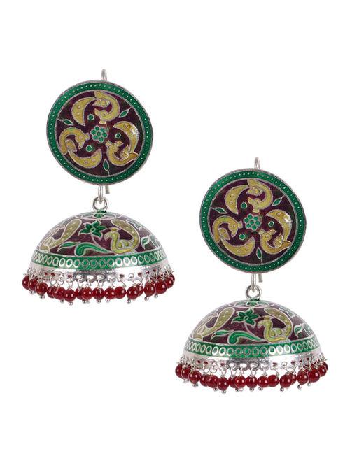 45b5ccc8bb4f3 Buy Maroon Meenakari Silver Jhumka Earrings Online at Jaypore.com