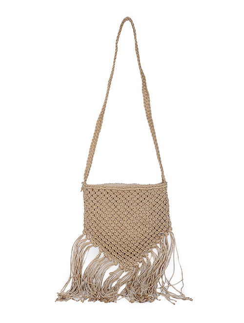 Buy Beige Macrame Jute Sling Bag with Fringes Online at Jaypore.com
