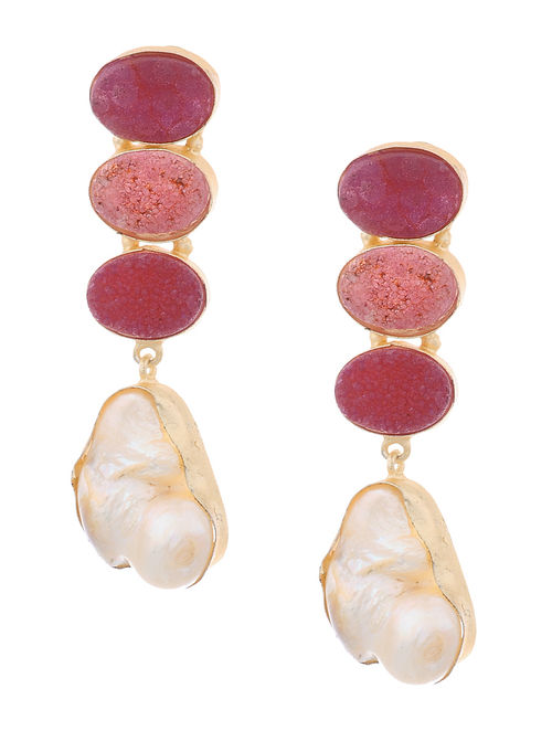 Pink Druzy And Pearl Gold Plated Br Earrings