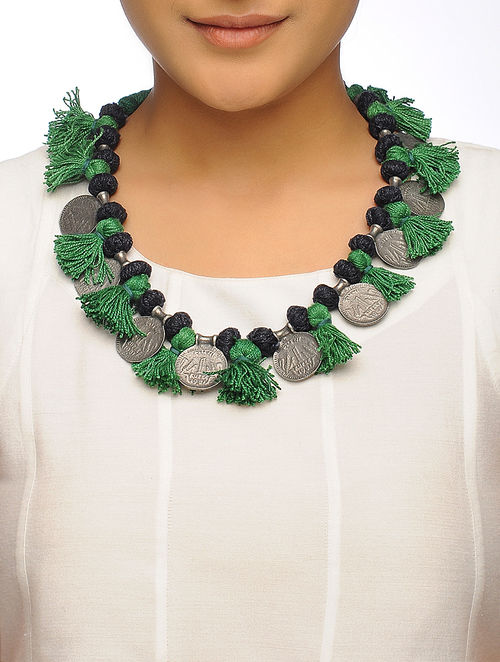 cotton necklace online metal black buy with thread coin alloy silver jaypore green com design at