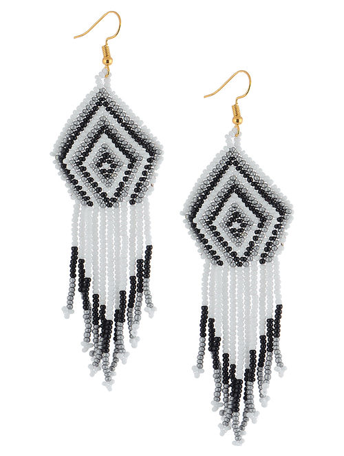 Buy Black White Glass Beaded Earrings Online At Jaypore Com